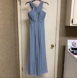 Azazie dusty blue bridesmaids dress